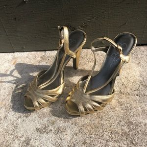 Jessica Simpson Shoes - Gold Strappy Jessica Simpson Heels Size 7
